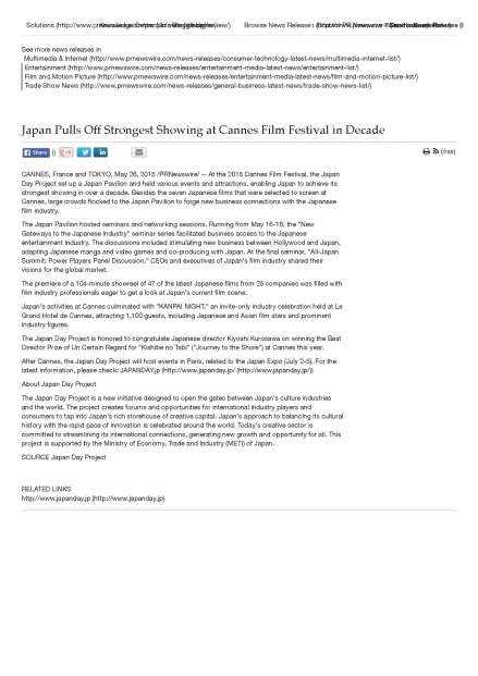 Japan Pulls Off Strongest Showing at Cannes Film Festival in Decade -- CANNES, France and TOKYO, May 26, 2015 -PRNewswire- --